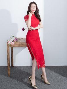 Rose Red Lace Qipao / Cheongsam Wedding Dress