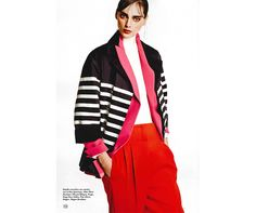 Say it with stripes.  #HOGAN peacoat from the Women's Spring-Summer 2015 Collection featured in Elle Greece.