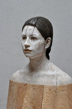 'Julia' (2012) by Italian artist Bruno Walpoth (b.1959). Wood, 54 x 47 x 30 cm. via the artist's site