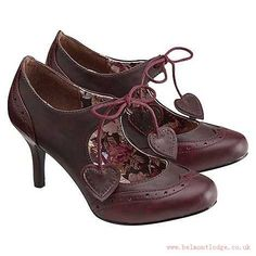 Factory Outlet - Joe Browns Women shoes Dark red vintage brogue heart shoes-mkgu361