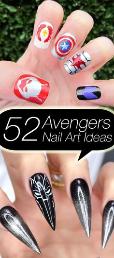 "Avengers nail art ideas for ""Avengers: Infinity War."" Click above to see 52 creative ideas."
