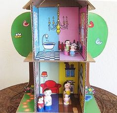 $9 PDF cardboard box to doll house patterm, slots together (no glue or tape needed) http://www.etsy.com/listing/62648052/cardboard-dollhouse-pdf-pattern-recycle