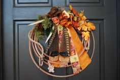 western/cowboy christmas wreath   Fall Lariat Antler Rope Wreath Autumn by DesignsbyTinaCollins
