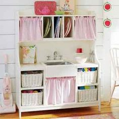 This little kitchen is so cute and i bet I could make oneout of an old entertainment center. Wooden Play Kitchen, Cute Kitchen, Little Kitchen, Homework Desk, Old Entertainment Centers, Craft Organization, Organizing Crafts, Headboard With Shelves, Girl Room
