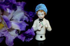 Antique Half Doll Child Bonnet Girl