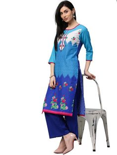Blue Floral Print Kurta with Blue Palazzo | Only on fashionlinestore.wooplr.com | Best Kurtis and Suits Online