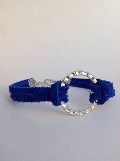 Royal Blue Suede Leather Bracelet Silver Metal by BalmDesigns