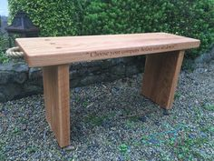 Personalised Irish Oak Bench with engraving of your choice on two sides & a secret message underneath. Oak Bench, Outdoor Furniture, Outdoor Decor, Solid Oak, Irish, Garden, Home Decor, Garten, Decoration Home