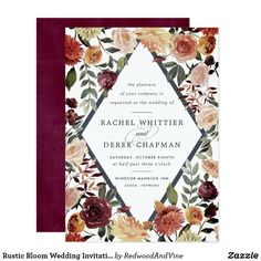 Elegant floral wedding invitations or fall or winter weddings feature your details nestled inside an elongated diamond surrounded by watercolor roses, mums and greenery in rustic autumn colors including peach, ivory, blush, burgundy and green. Woodland Wedding Invitations, Burgundy Wedding Invitations, Elegant Wedding Invitations, Watercolor Wedding Invitations, Bridal Shower Invitations, Custom Invitations, Invites, Personalized Wedding Gifts, Rustic Wedding