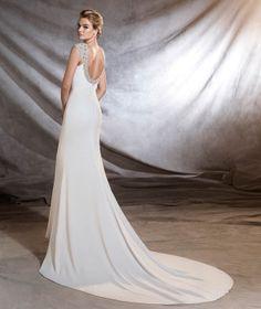OLIMPIA - Vestido de novia con estilo sirena y escote redondo