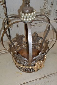 Large metal crown shimmering bronze with by AnitaSperoDesign, $75.00