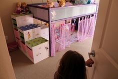 The finished Ikea Kura bed and Trofast stairs for Mackenzie's 4th birthday!
