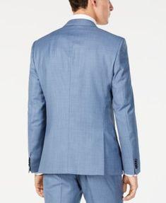 0707d70a Hugo Boss Men's Modern-Fit Light Blue Mini-Check Suit Jacket - Blue 46R