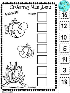 This ocean-tastic themed pack contains 15 no prep, cut and paste, ordering number worksheets! Children can practice their skills ordering numbers smallest to biggest within the range 0-20, 0-50 and 0-100 making them perfect for all abilities in your classroom. These worksheets can also be laminated for children to write the numbers on with a marker, making them a great addition to any math centre. School Resources, Classroom Resources, Teacher Resources, Cut And Paste Worksheets, Number Worksheets, Kindergarten Math Activities, Preschool, Homeschool Worksheets, Small Group Activities