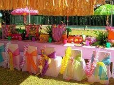 luau or pool party Aloha Party, Hawaiian Luau Party, Hawaiian Theme, Tiki Party, Hawaiian Baby, Party Party, Luau Birthday, Birthday Parties, Theme Parties