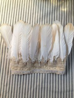Feather and antique lace headdress crown by Emma Freemantle DIY inspiration Crafts For Kids, Arts And Crafts, Diy Crafts, Feather Crown, Feather Headpiece, Boho Gypsy, Party Hats, Playing Dress Up, Moncler