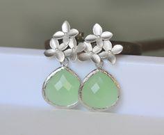 Mint Teardrop and Silver Cherry Blossom Flower Post Earrings. Mint Bridesmaid Earrings. Drop Earrings. Silver Fashion Earrings.