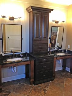 Good looking wheelchair accessible vanities - but gotta cover those pipes!
