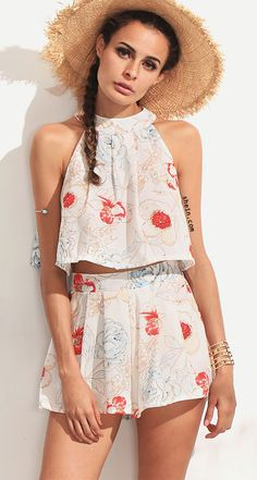 9180939e5f3e0 Shop Halter Florals Top With Zipper Shorts online. SheIn offers Halter  Florals Top With Zipper Shorts   more to fit your fashionable needs.