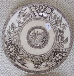 "1883 Forester & Hulme Congo 7-1/2"" Dessert Plate - Brown Aesthetic Transferware #AestheticMovement #ForesterHulme"