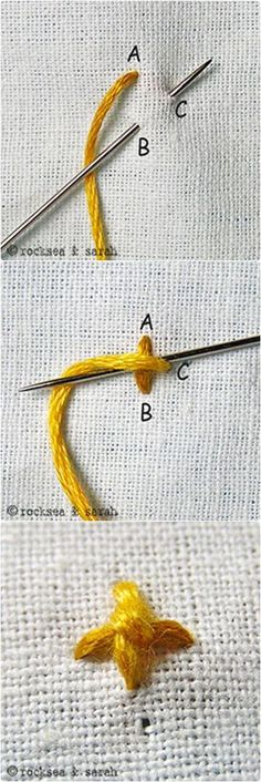 Four Legged Knot Stitch www.embroidery.rocksea.org/stitch/knots/four-legged-knot-stitch/