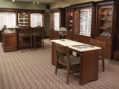 Optometry dispensary displays with dispensing tables and Optical display cases.  www.ioddisplays.com