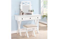 The Arabella White Wood Makeup Desk Set #makeupdesk #vanitytable