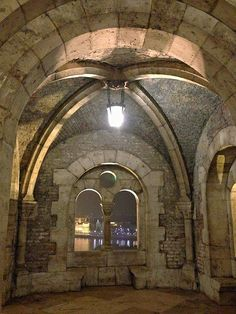 An interior photo of one of the seven fairytale-like castle turrets of the Fisherman's Bastion in Budapest, Hungary.