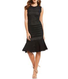 689554ab711 Antonio Melani Vail Knit Sleeveless Perforated Flounce Hem Sheath Midi Dress  Antonio Melani