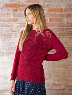 Cozy and perfect for a beautiful fall day, this pullover features a chevron lace pattern stitch.   This free pattern is available exclusively as a print-friendly PDF file - it's easy to read and requires less paper when printed. To download the pattern, just click the PDF link above.  Trouble getting the PDF? Make sure you've downloaded the latest version of the free Adobe Reader software.