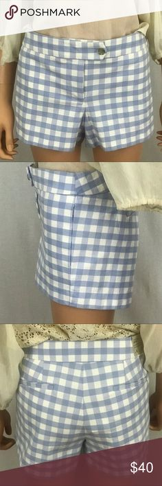 "J. Crew stretch Chino City Fit  size 6 shorts. J. Crew stretch Chino City Fit. These are blue and white checkered shorts size 6. This is J. Crews lowest fit; sits just above the hip, cotton with a hint of stretch. Waist approx 16"". Rise approx 8.5"" inseam approx 3"". All measurements taken lying flat. These shorts attach with 2 buttons, have 2 pockets in the back, and 2 pockets  in the front. These shorts are so so cute! Great for a stroll in the park, or just smelling the roses! NWT…"