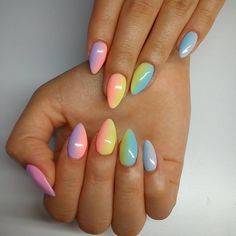 "73 Likes, 12 Comments - Milena Domalska (@anelimakslamod) on Instagram: ""Rainbow :) #nails #nailart #nailsoftheday #nailstagram #instanails #rainbownails #rainbow #semilac…"""