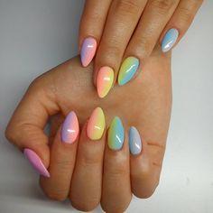 "73 Likes, 12 Comments - Milena Domalska (@anelimakslamod) on Instagram: ""Rainbow :) #nails #nailart #nailsoftheday #nailstagram #instanails #rainbownails #rainbow #semilac…"""