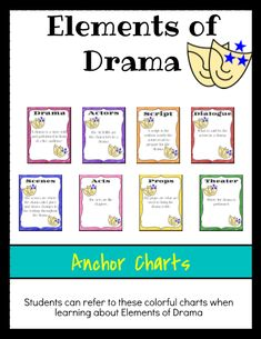 Use these Elements of Drama anchor charts when teaching about Drama. Each anchor chart can be introduced by the teacher during a mini lesson, then displayed around the room for the teacher and students to refer to. Drama Education, Drama Class, Drama Drama, Girl Drama, Drama Activities, Drama Games, Teaching Theatre, Teaching Reading, Drama Teaching