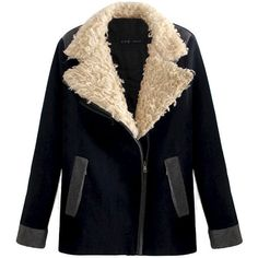 BIG TEDDY FUR COLLAR JACKET (830 ARS) ❤ liked on Polyvore featuring outerwear, jackets, coats, coats & jackets, fur collar jacket and black jacket