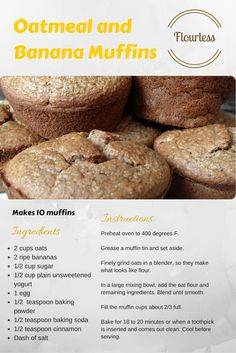 Flourless Dessert Recipe 3 of 5 - Oatmeal and Banana Muffins Flourless Dessert Recipes, Gluten Free Desserts, Delicious Desserts, Vegan Chocolate Cupcakes, Black Bean Brownies, Muffins, Oatmeal, Good Food, Remedies