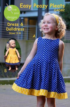 Olive Ann Designs Easy Peazy Pleats Dress & Doll Dress Pattern - top is all pleated Sewing Kids Clothes, Baby Sewing, Doll Clothes, Fancy Clothes, Outfits Niños, Kids Outfits, Little Girl Dresses, Girls Dresses, Doll Dress Patterns