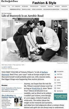 Sunday NY Times - On The Runway - Cathy Horyn http://www.nytimes.com/2013/11/24/fashion/life-of-Barbara-Stanwyck-is-an-aerobic-read.html?emc=eta1&_r=2&