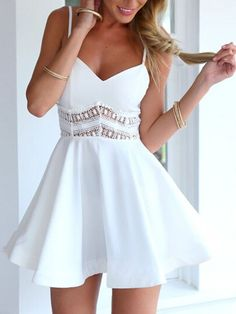 White Spaghetti Strap Lace Waist Skater Dress | Choies