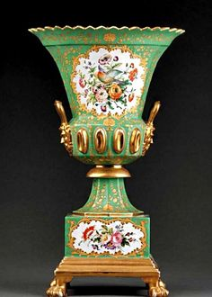 A French Gilt and Poly chrome Porcelain Urn