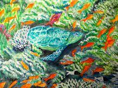 GALERIA PALOMO MARIA: TORTUGA MARINA Fish, Artwork, Sea Turtles, Watercolor Painting, Scenery, Work Of Art, Auguste Rodin Artwork, Pisces, Artworks