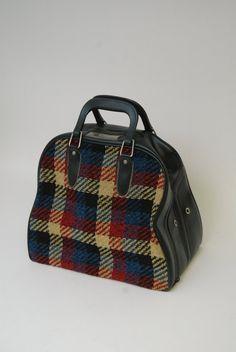 Vintage Mid Century Plaid Bowling Bag Handbag 1950 By Whitepicket Bags Train Case