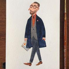 """좋아요 418개, 댓글 9개 - Instagram의 Fei Wang(@mr.slowboy)님: """"Typical Londoner in Chesterfield coat #englishman #fashionillustration #menswear #mensfashion…"""""""