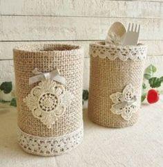 Knitting models: knitting models of the week basteln Tin Can Crafts, Diy And Crafts, Arts And Crafts, Mason Jar Crafts, Bottle Crafts, Bottle Art, Recycled Decor, Tin Can Art, Pot A Crayon