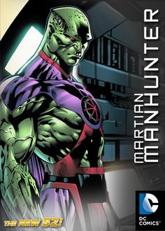 The New 52: Martian Manhunter Design.    Hmm. I miss the dark blue cape/color, but like the shoulders and chest insignia and the purple is a nice touch...