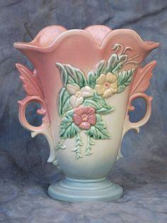 Hull Wildflower W-9 Vase, Hull Art Pottery, 1940's Art Deco Vase, A.E. Hull Pottery Co, Crooksville, Ohio by LovelyLinensandMore on Etsy