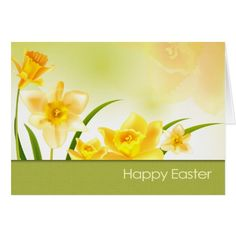 Spring Daffodils Customizable Easter Greeting Cards. Matching cards in various languages , postage stamps and other products available in the Holidays / Easter Category of the Mairin Studio store at zazzle.com