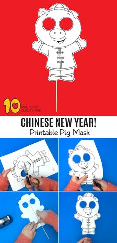 New chinese new year classroom door learning ideas Pig Crafts, New Year's Crafts, Easy Arts And Crafts, Crafts To Do, Chinese New Year Activities, New Years Activities, Activities For Kids, New Year Coloring Pages, Pig Mask
