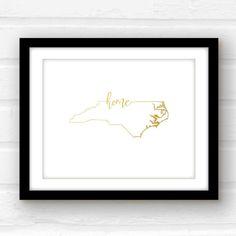 North Carolina sign  gold foil North Carolina by PaperFinchDesign