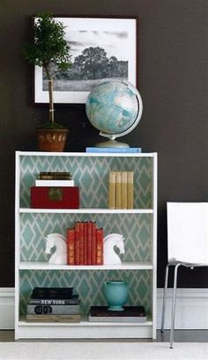 How to add fabric to the back of a shelf!